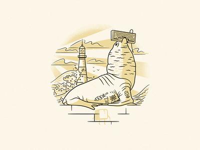 El lobo de Mardel stroke shadow light vector procreate ocean lighthouse tattoo animal wolf sea illustration argentina