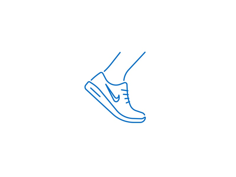 Nike Shoe iconography movement sport foot line simple stroke icon nike run running sneaker shoe