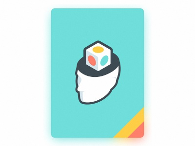 Cube Card line stroke open man isometric simple illustration color blur icon head game card