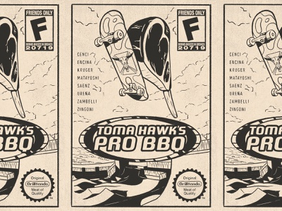 Toma Hawk's Pro BBQ illustration print poster cover tony skater sport skate handmade ipad pro procreate gamer video games nintendo grill food meat tomahawk bbq