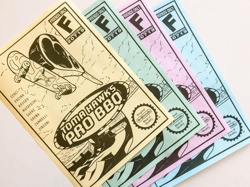 Toma Hawk's Pro BBQ 🌈 nintendo sport handmade ipad pro procreate illustration bbq meat gamer tomahawk videogame skater tony hawk flyer poster paper color print