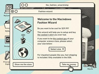 Macindows: The Fashion Wizard | Burgersoft® window icon mac stroke illustration interface macindows vintage retro buy tee t-shirt ux ui macintosh windows