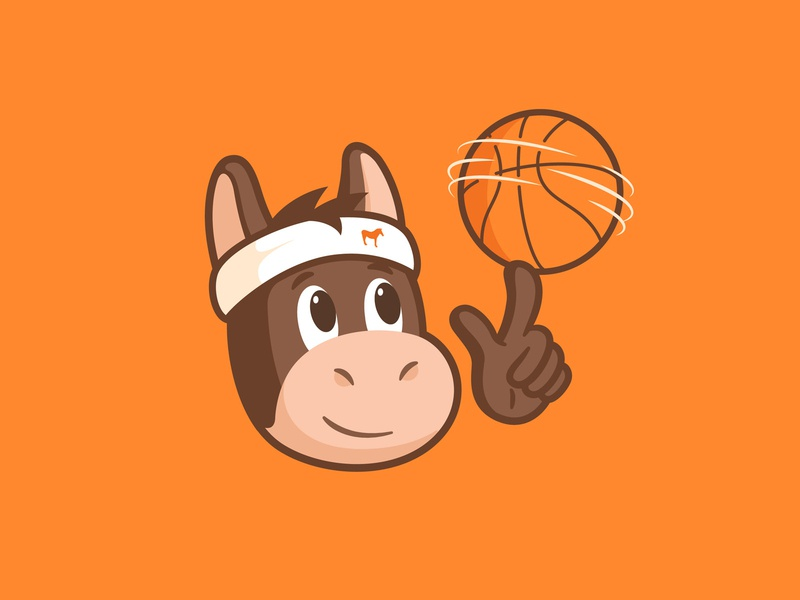 Mulebron brand illustration cartoon hand rotating ball cute character animal sticker mule basketball basket
