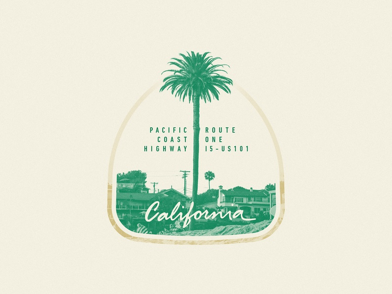 PCH California lettering tree palm summer beach coast photography photo sign badge usa california pacific route pch