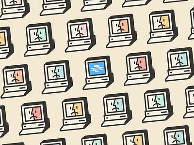 MyComputer :( bug error illustration stroke color screen blue macintosh finder mac vintage geek retro pattern windows icon