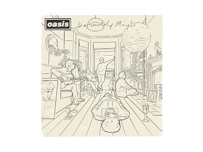 Definitely Maybe turns 25! gallagher cover draw illustration ipad pro procreate 90s britpop definitely maybe disc vinyl music oasis