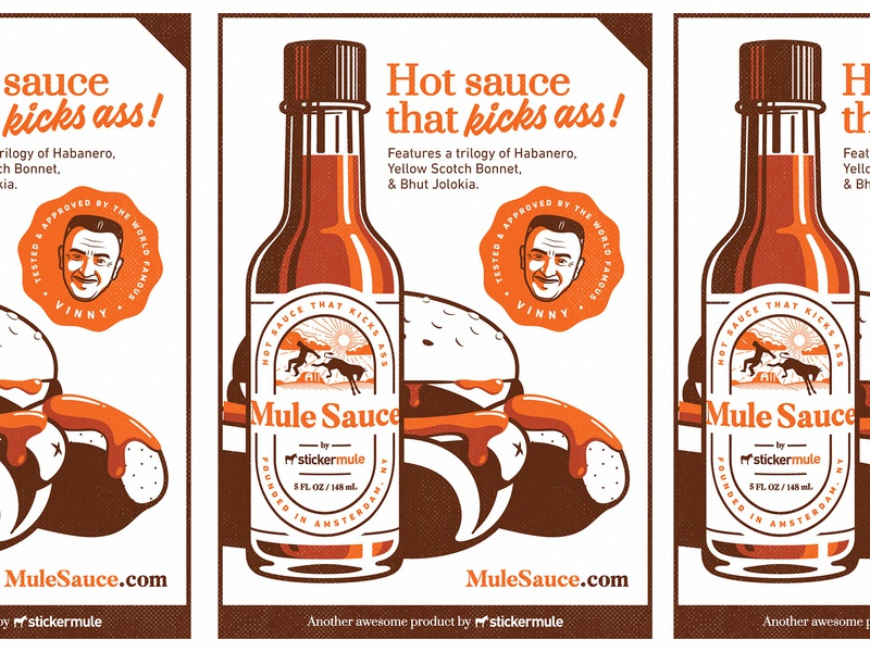 Mule Sauce Poster vinny food hot sauce wings hot dog hamburger burger mid-century head face label retro vintage illustration bottle mule sticker print poster