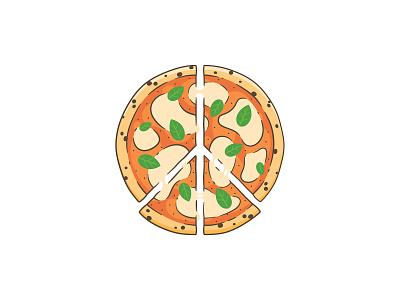 Peace-za tomato sauce melt cheese basil margarita stroke symbol illustration food lettering badge slice pizza peace