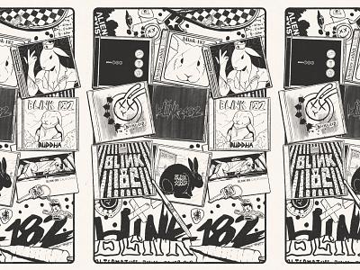 blink-182 rabbit discography ipadproart 2000 1990 disk cd illustration animal rabbit handmade procreate flyer poster pop punk blink-182 band music