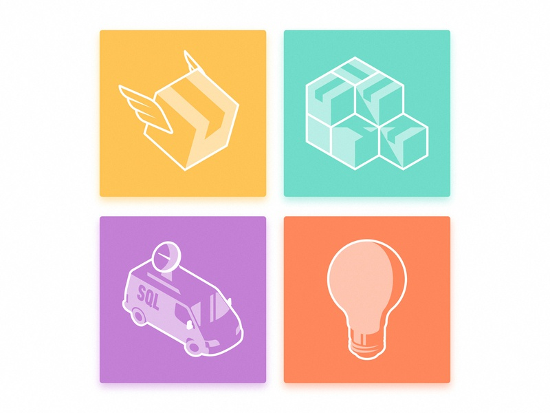 Internal Apps Icons branding mule apps key print paper delivery box van simple illustration shadows light iconography icons isometric