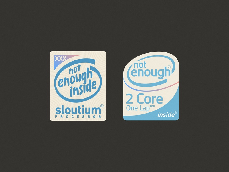 Laptop stickers 2 lettering typography geek not enough core processor inside cpu funny sticker vintage retro