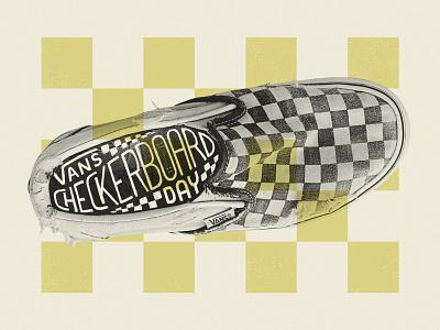 Happy Checkerboard Day! retro california vintage square lettering ipad pro procreate skool old slipon shoe checkerboard vans