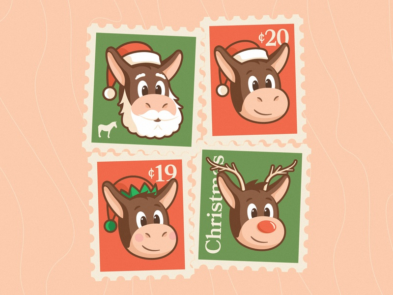 Herman is ready for christmas face head smile mascot design character animal wood sticker mule santa rudolph holidays christmas postcard postal illustration stamp