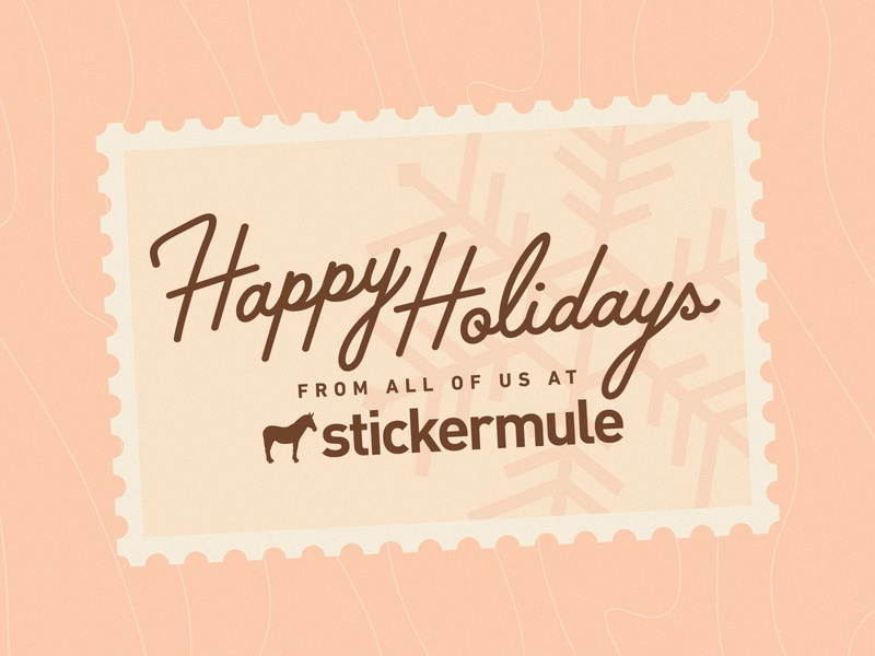 Happy Holidays! vintage retro brand branding wood snow postal postcard stamp lettering mule sticker happy holidays