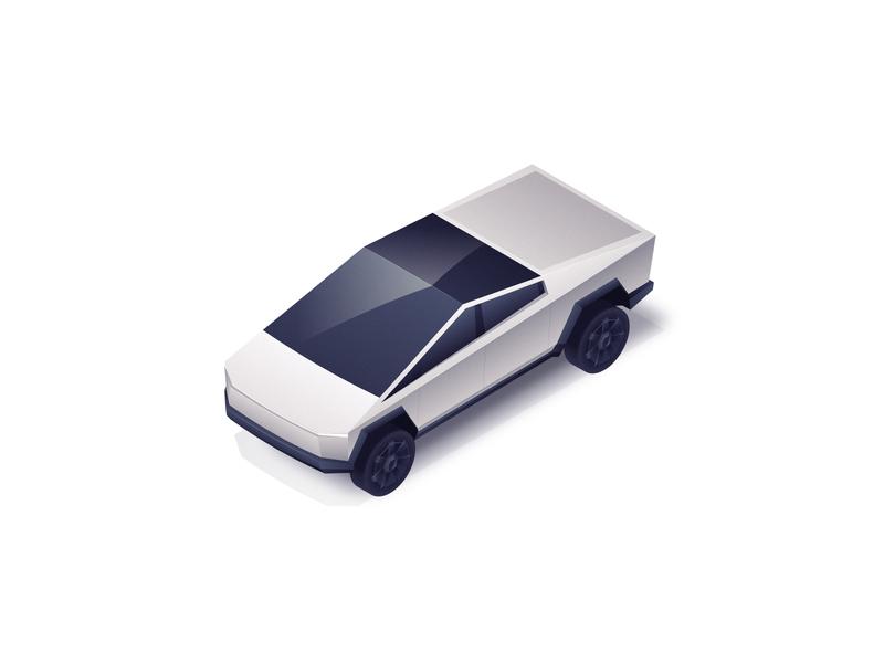 Tesla Cybertruck vector shadow light gradient cybertruck tesla polygon illustration 3d punk retro isometric car pickup truck