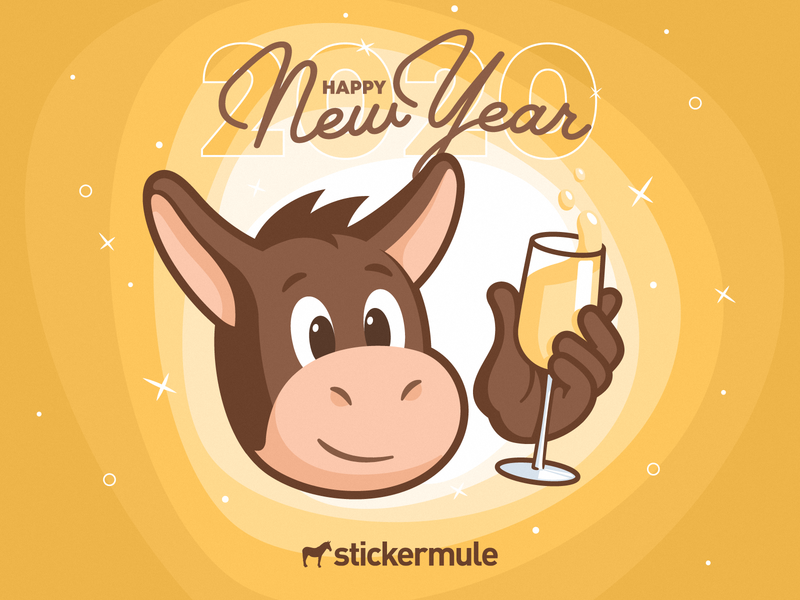 Happy New Year! 2020 gold champagne cheers smile happy mascot design character animal mule sticker new year