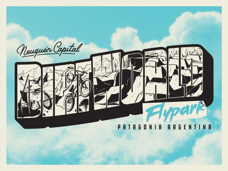 DWFP Postcard Process bycicle lettering hafltone clouds jump dirt postcard vector procreate photography argentina patagonia sport bmx illustration process