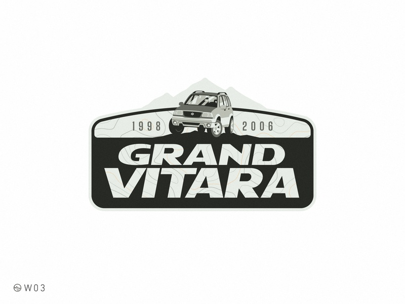 W03 - Suzuki Grand Vitara car suzuki chevrolet sticker flat illustration badge topography expedition adventure mountain vitara suv off road offroad