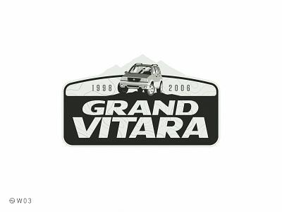 W03 - Suzuki Grand Vitara car suzuki chevrolet sticker flat illustration badge topography expedition adventure mountain vitara suv off road offroad
