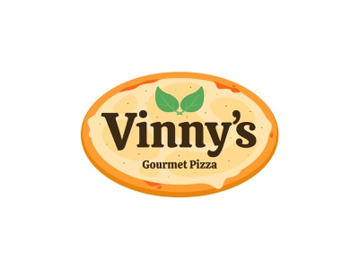 Vinny's Gourmet Pizza illustration branding logo simple basil cheese food oval flat mule sticker italy brand pizza