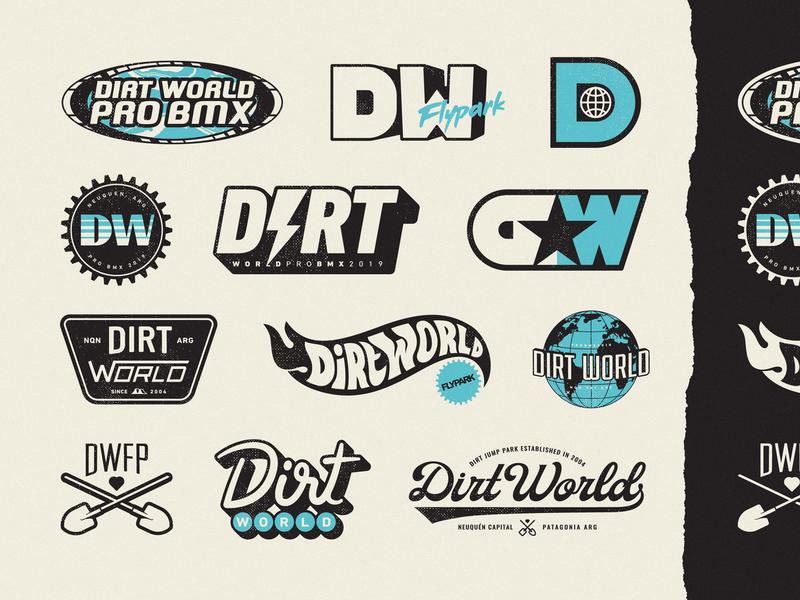 DWFP Variations retro vintage extreme dirt shovel illustration world branding vans hoffman hot wheels tony hawks bicycle dirt jump bmx sport sticker logo