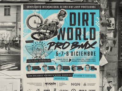Dirt World Pro BMX urban poster argentina duotone print graphic design mockup street flyer poster urban bicycle dirt jump extreme sport bmx