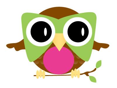 Final logo concept logo pink green brown owl hoot