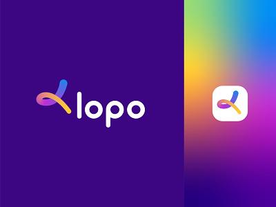 Lopo Logo ( Letter L ) branding design logo logomaker design ui branding mark great mark 2021 trending gradient minimalist simple modern logo feminine logo colorful logo letter l playful logo print freelancer logo