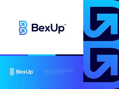 BexUp logo memorable great mark bold clean minimalist 2021 trending growth modern tech agency succes arrow up letter b branding branding design logo logomaker freelancer logo ui