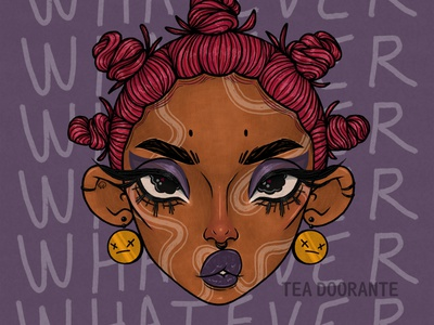 Whatever tea doorante editorial fashion makeup fashion melanin women of color stylized portrait art portrait illustration