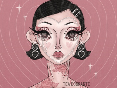 Be Mine? tears kawaii floral rose cupid heart valentine macabre cute digital illustration digital 2d tea doorante stylized portrait art portrait makeup illustration fashion editorial fashion