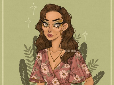 First Bloom women in illustration plants nature flower floral makeup illustration fashion editorial fashion digital illustration digital 2d tea doorante stylized portrait art portrait
