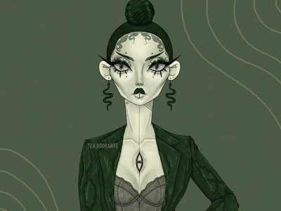 Serpentine macabre third eye drawing makeup fashion editorial fashion digital illustration digital 2d tea doorante stylized portrait art portrait slytherin medusa dragon serpent snake