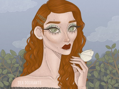 Wallflower freckles plants nature moth illustration makeup fashion editorial fashion digital illustration digital 2d tea doorante stylized portrait art portrait