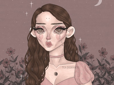 Bittersweet floral flower pink pastel dark surrealism surreal macabre creepy cute kawaii cute illustration makeup fashion editorial fashion digital illustration digital 2d tea doorante stylized portrait art portrait