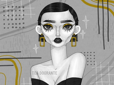 Aurous black and white modern abstract gold editorial makeup illustration makeup fashion editorial fashion digital illustration digital 2d tea doorante stylized portrait art portrait