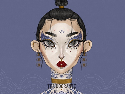 Porcelain oriental japanese art editorial makeup high fashion japanese crane crane gold china modern geisha geisha illustration makeup fashion editorial fashion digital illustration digital 2d tea doorante stylized portrait art portrait
