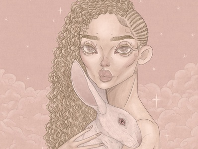 Melanin black lives matter body positivity women of color bunny rabbit albinism albino clouds pastel pink illustration makeup fashion editorial fashion digital illustration digital 2d tea doorante stylized portrait art portrait