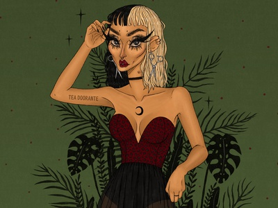 Untamed leaves palm leaf plants cheetah illustration makeup fashion editorial fashion digital illustration digital 2d tea doorante stylized portrait art portrait