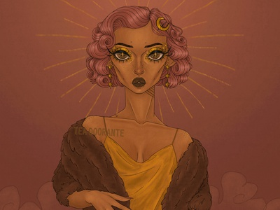 Starstruck clouds monroe marilyn monroe retro vintage high fashion moon gold stars illustration makeup fashion editorial fashion digital illustration digital 2d tea doorante stylized portrait art portrait rose gold
