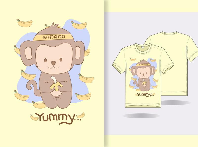 hand draw cute banana monkey with t shirt design flat art vector tshirt illustration design branding animation