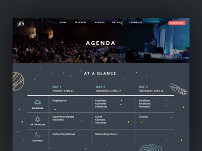 Experience 2016 Agenda planets space at a glance agenda conference