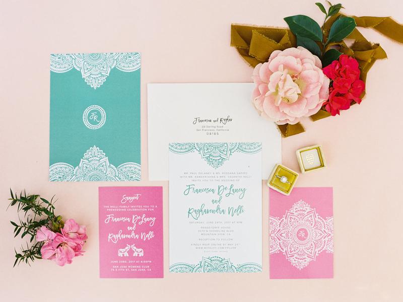 Modern Indian Wedding Invitations Pink Teal Henna Envelope Stationery Invites