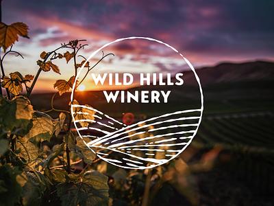 Wild Hills Winery hills typography illustration grapes vines landscape wine winery identity logo branding