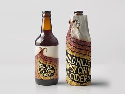 Wild Hills - Tipsy Crane Cider mock nature tree illustration label packaging bottle branding identity