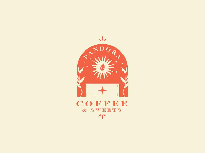 Case Study for Cafe Logo Design pandora sun cafe logo cafeteria logo design concept logo design logo