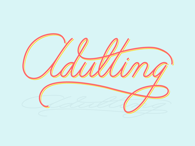Adult Lettering vector flourish coral robins egg blue monoweight lettering typography vector type hand lettering musings lettering