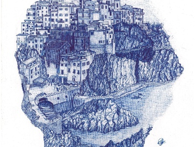 Cinque Terre  Italy design gelpen background traditional illustration artwork drawing city artist art