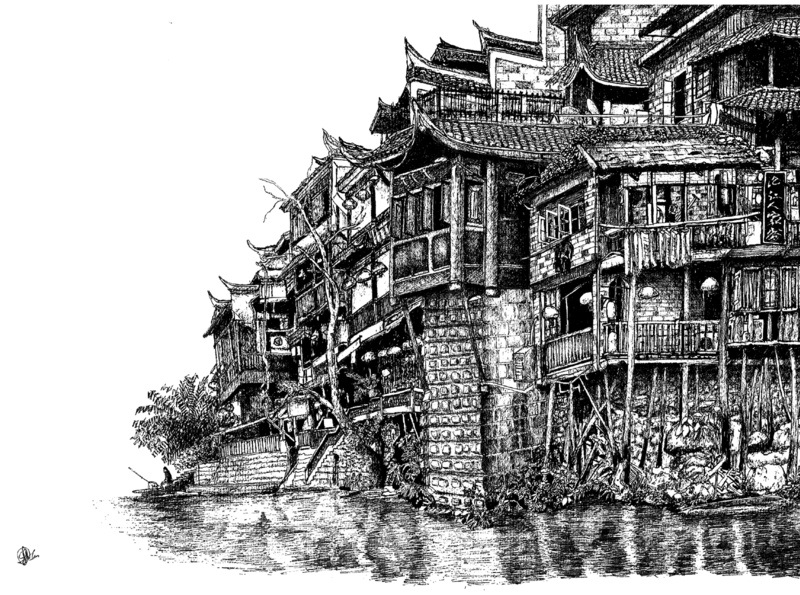 Old houses in Fenghuang county in Hunan  China wall decor ink drawing ink art pen and ink ink print prints china village sketch black and white traditional drawing traditional art city traditional illustration drawing artwork artist art