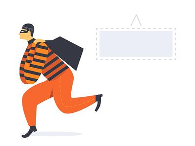 Empty State Illustrations 404 page thief burglar illustration